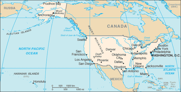 Map of the United States of America